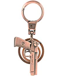 Gun Double Ring Keyring Hook Keychain Alloy Metal Key Ring Key Chain For Bike & Car