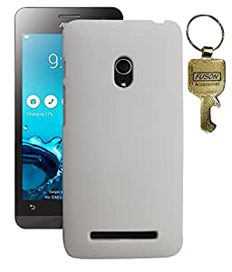 FUSON PREMIUM HARD BACK CASE COVER FOR Asus Zenfone 5 A500CG - WHITE WITH KEY CHAIN