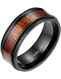 MABOHITY Ring Herren Titan-Ring Titanium 8mm Holz Echtholz Intarsie & Milgrain Rand Ehering Verlobungsring Freundschaftsring Hochzeit Band, Schwarz, Größe 52 bis 72