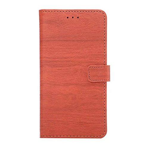 Hölzernes Beschaffenheits-Muster PU-lederner Mappen-Kasten-Abdeckungs-Folio-Standplatz-Fall mit Einbauschlitzen für iPhone 7 Plus ( Color : Rose ) Orange