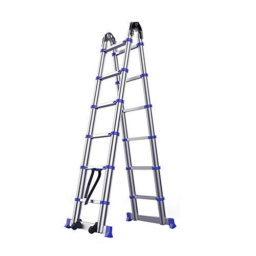 ZCF Escaleras de mano De Aluminio Telescópica Escalera, Multiuso Telescópica Escalera Reforzar Sólidas...