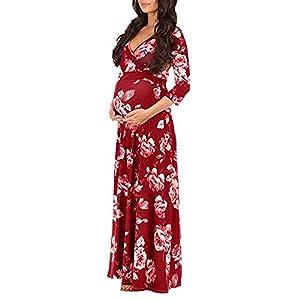 premamás: Mujer Embarazada Gasa Vestido YiYLinneo De Maternidad Split Vista Delantera Foto...