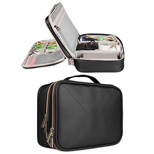 Electrónica de viaje organizador bolsa impermeable de piel sintética