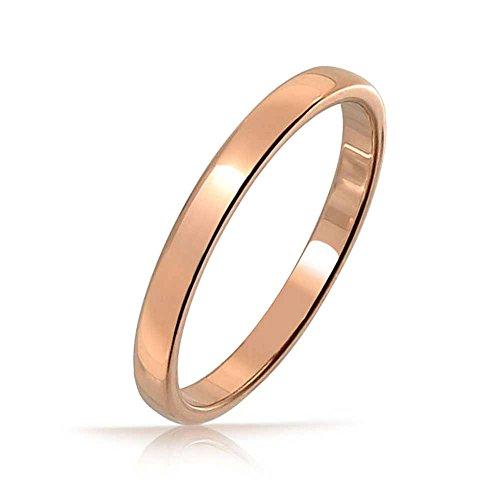 Bling jewelry sottile cupola minimalista coppie fede nuziale rosa lucido placcato oro anello di tungsteno per uomini per donne 2mm