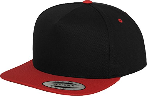 Red 5 Panels (Flexfit Classic 5 Panel Snapback Cap, Blk/Red, one Size)