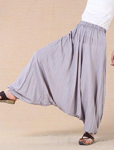 MatchLife, pantaloni da donna, larghi, in tinta unita M002-Grey(Fit UK 4-18)