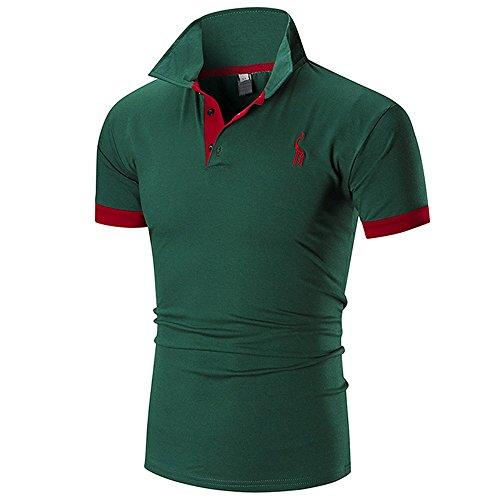 21928e2bee2428 Herren T-Shirt Mode-Business-Männer Casual Slim Kurzarm Fawn Top Bluse