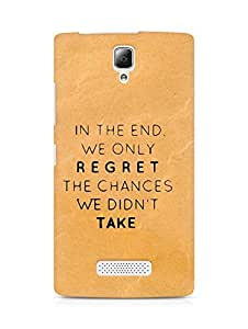 AMEZ we only regret the chances we didnt take Back Cover For Lenovo A2010