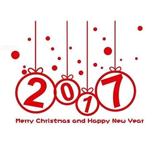 Pared de la Navidad Etiqueta,RETUROM Año nuevo 2017 feliz Navidad pared pegatina Home Tienda Windows etiquetas decoración(rojo)