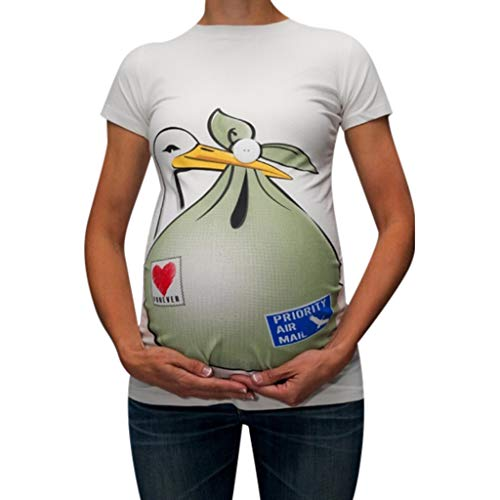 Amphia - Mutterschaft Muster drucken Kurze Ärmel lässig T-Shirt Schwangere Tops - Schwangere Damen Rundhalsausschnitt mit Rundhalsausschnitt und Kurzarm-T-Shirt für Schwangere ()
