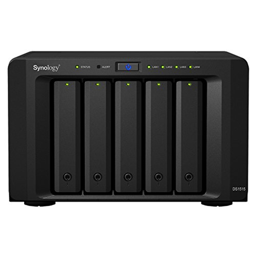 Synology Serie Value DS1515 - Dispositivo de almacenamiento en red (2GB, 2 puertos USB 3.0, 4 puertos LAN Gigabit, 2 puertos eSATA), Negro
