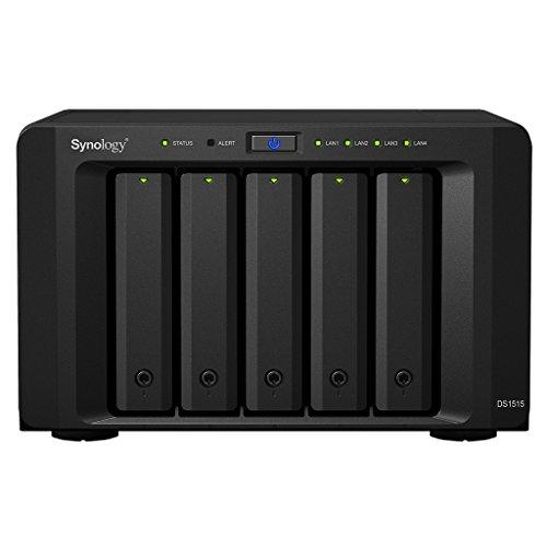 Synology Serie Value DS1515 - Dispositivo de Almacenamiento en Red (2GB, 2 Puertos USB 3.0, 4 Puertos LAN Gigabit, 2 Puertos eSATA), Negro