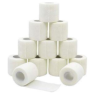 YuMai Haftbandage Selbsthaftende Bandage Erste Hilfe Klebeband Wrap 5 cm × 4,5 m Weiß FDA genehmigt – 12 Stück