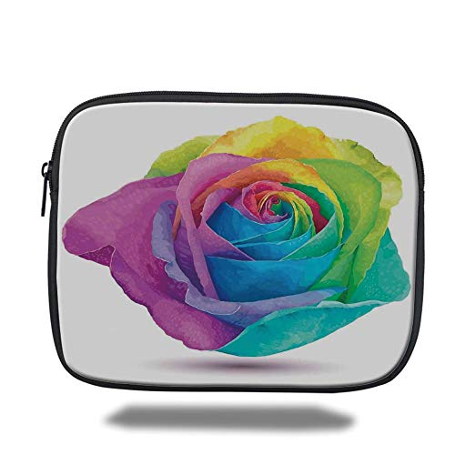 Tablet Bag for Ipad air 2/3/4/mini 9.7 inch,Watercolor Flower,Graphic Design of Futuristic Large Size Rose in Spectrum Rainbow Colors Romance Art,Multi