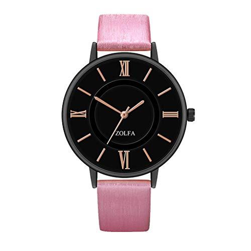 Lady Hot Pink Leder (Damen Armbanduhr Analog Quarz Wasserdicht mit Lederband Crystal Dial Neu Mode Damen Sehen Quarz Bewegung Leder Gurt Quarz Sehen Hot Pink)