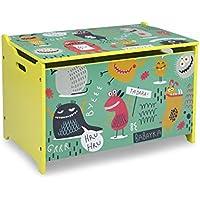 Homestyle4u 1856, Kinder Spielzeugkiste Coole Monster, Holz, Grün Bunt preisvergleich bei kinderzimmerdekopreise.eu