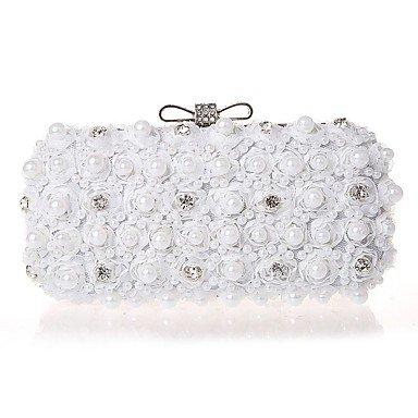 Hand bag Diamond diamond Chiffon Abend Tasche White