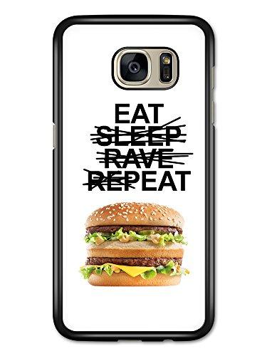 Micro Gorilla Eat Sleep Rave Repeat Hamburger Funny Fast Food White Background hülle für Samsung Galaxy S7 Edge - White Fast-food