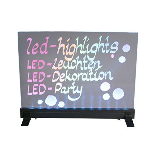 LED-Highlights Deko Leuchtschild Reklame Tafel 40 x 30 cm durchsichtig Controller 7 Led Farben Leuchttafel Werbeschild 8 Neon Stifte Buchstaben bunt beschreibbar