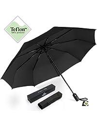 MYCARBON Parapluie Pliant Automatique Compact coupe-vent Parapluies de voyage pour femme et homme, Une canopée de 210T tissu (Noir)