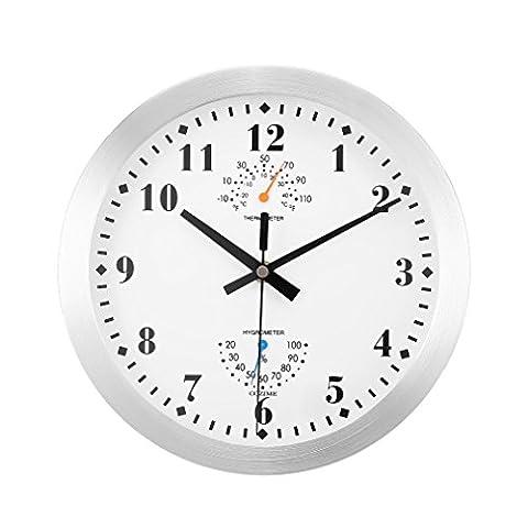 Horloge Murale Rond COZIME Horloge de Paroi Cadre en Métal de 10 Pouces Décoratif Avec Thermomètre Hygromètre Affichage Multifonction Mouvement de Balayage Silencieux pour la Salle de Bain (argent(10inch))