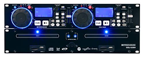 "Pronomic CDJ-230 Doppel DJ CD Player mit USB & SD (2-Kanal DJ Desk mit separatem Controller, Pitch Bender und DSP-Effekte, Seamless Loop, 19""-Format)"