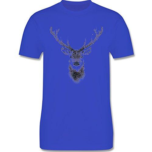 Weihnachten & Silvester - Hirsch Pixel - Herren Premium T-Shirt Royalblau