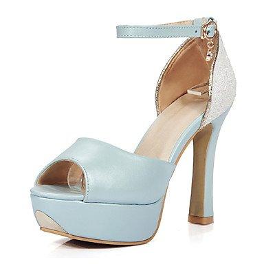 LvYuan Da donna-Sandali-Matrimonio Formale Serata e festa-D'Orsay-Quadrato-Finta pelle-Blu Rosa Bianco White