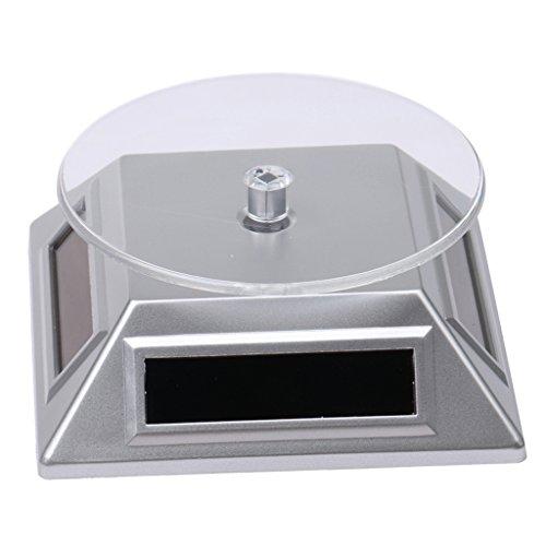 XRF-037 360° Solar Drehteller Präsentierteller Drehbühne Ideal für Präsentation von Handys, Uhren und Schmuck - Silber, 10 * 10 * 4,5 cm