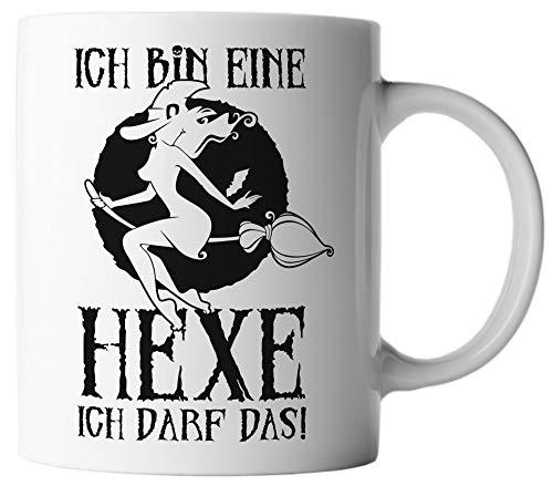 bin eine Hexe ich darf das! Halloween Spruch Motto Mug, Farbe:Weiß/Schwarz ()