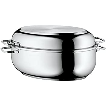 WMF roaster oval 41x28,5x18 cm approx. 8,5l lid as frying pan stainless steel brushed suitable for all stove tops including induction dishwasher-safe