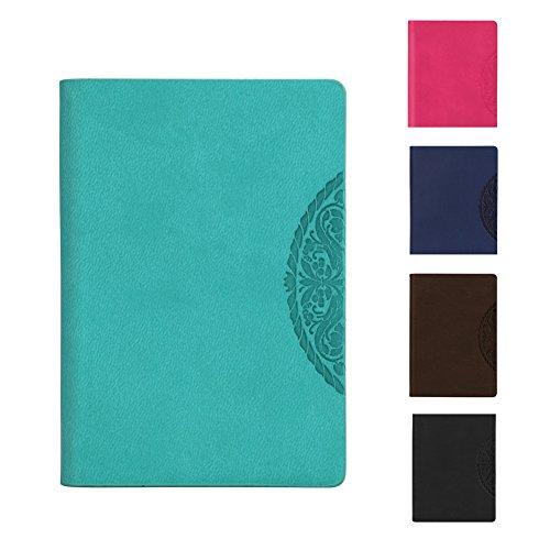 Confezione da 2 quaderni arighe, formato a7 classico, con copertina in ecopelle di poliuretano, rigida, per lavoro, scuola, appunti, portatile, taccuino green (2 pack)