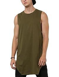 SKULT Men Olive Green Slim Fit Longline Angular Vest