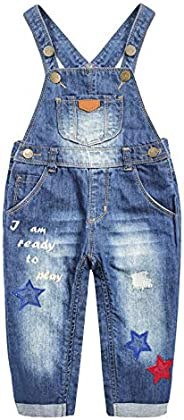 Kidscool Space Baby&Little Girls Snap Legs - Tuta in denim ricamata con st