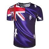 SEVENWELL Hombres/Mujeres Copa Mundial Tshirt Soccer Fans Manga Corta O-Neck tee Tops Australia XL(Tag, Asia)=UE L