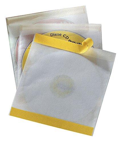 Durable 521019 CD-Selbstklebetasche Fix (für 1 CD, PP, 160 x 241 x 6, 5 mm) 10 Stück transparent 2-cd-tasche