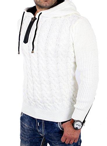 Tazzio Strickpullover Herren Winter Grobstrick Kapuzen Pullover TZ-453 Ecru