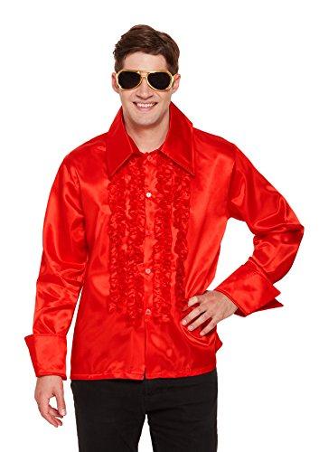 970er Disco Shirt–Rot (One Size) (1970 Kostüme Zu)