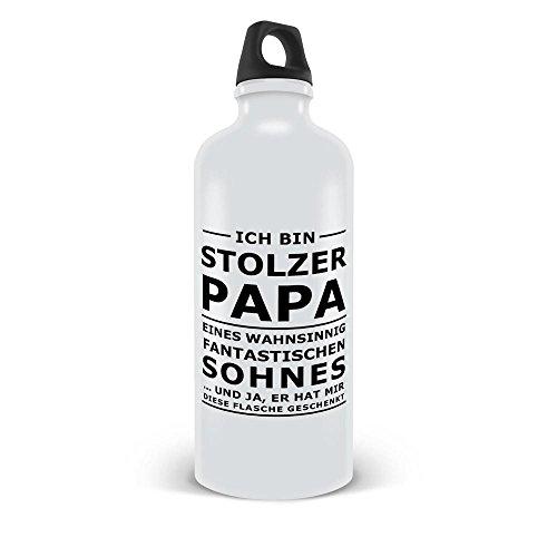 Aluminium-Trinkflasche mit Motiv, 600 ml, Farbe Weiß – das perfekte Geschenk für den stolzen Papa oder die stolze Mama, Motiv:Motiv 02