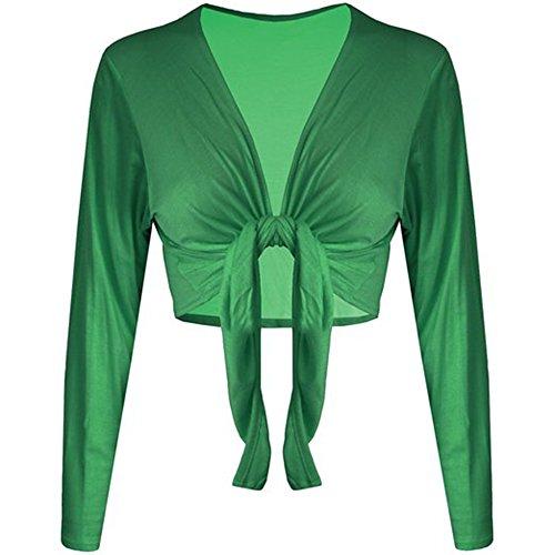Fashion essentials-womens Tinta Unita Maniche Lunghe Tie Front Nodo elasticizzato coprispalle Cardigan Top Green