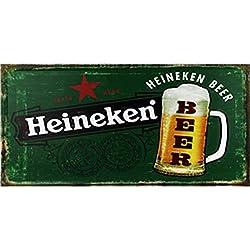 Easy Painter - Placa de Cerveza Heineken Vintage con Letrero de Lata, diseño Retro, Pintura de Metal Envejecido, para Barra de Hierro, Carteles de Barra y pomos