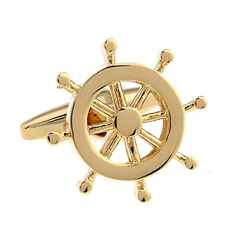 Anker Ruder Angeln Marine Seemann Boot Meer Gold Silber Manschettenknöpfe (Gold Ruder)