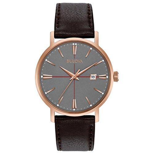 Bulova Classic Aerojet 97B154 - Herren Designer-Armbanduhr - Armband aus Leder - - Bulova Herren Uhr Grau