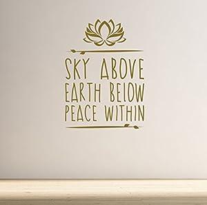 DesignDivil Himmel über. Erde unten. Frieden. Yoga und Meditation Inspirierende Qualität Vinyl Matt Wand Aufkleber. 5Farbe und 2Größe Choices.