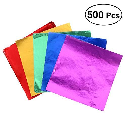 ULTNICE Folie Papier Wrapper,Aluminium Foil Papier für Schokolade Süßigkeiten Candy Packung 500 STÜCKE Farbe