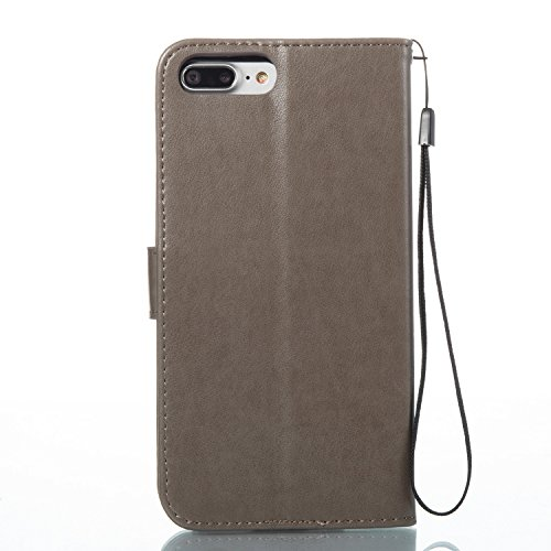 Hülle für iPhone 7 Plus, Tasche für iPhone 8 Plus, Case Cover für iPhone 7 Plus, ISAKEN Glitzer Strass Kristall Blume Schmetterling Muster Folio PU Leder Flip Cover Brieftasche Geldbörse Wallet Case L Grün Blume Grau