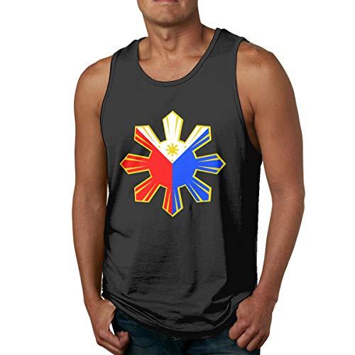 Abigails Home Philippinische Flagge Männer Tank Top ärmellose Shirts Tee Basketball Sport T Shirt Tees Outdoor Fitness(S,schwarz) -