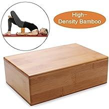 Bamboo Yoga Bricks- Herramienta de bloque rectangular natural, respetuosa del medio ambiente, no tóxica, duradera para el entrenamiento deportivo de la aptitud de la yoga