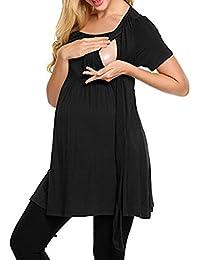 BESTHOO T-Shirt para Embarazadas Mujer Blusas Largo Suelto Sencillas Tops a Capa Lactancia Senora