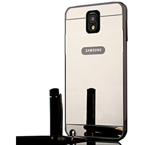 Sunnycase® Samsung Galaxy Note 3 N9000 Brillante Alta Calidad Funda PC Aluminio material carcasa Negro Metal Mirror Bumper phone case Hard Cover with Frame caja del teléfono Protectora cáscara chic marco + bling espejo espalda